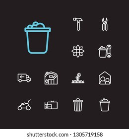 Housekeeping icons set. Housekeeper and housekeeping icons with radio with tv, floral and housekeeping tool. Set of wrench for web app logo UI design.