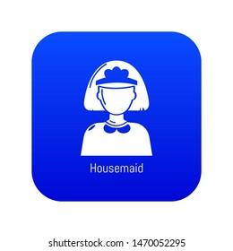 Housemaid icon blue isolated on white background