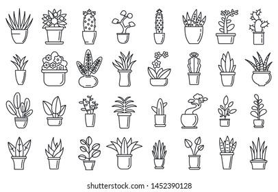 Houseplants flower icons set. Outline set of houseplants flower icons for web design isolated on white background