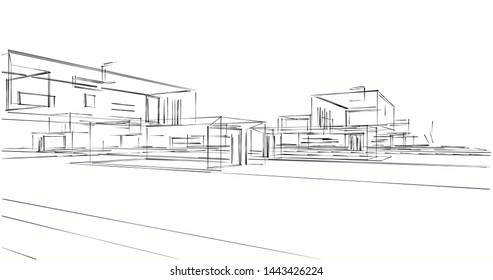 Houses architecture, drawings 3d illustration