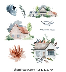 houses and flowers watercolor logo elements