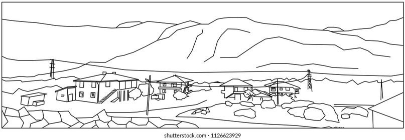 Houses in hills simplifed countur drawing art.