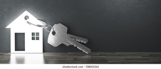 House's key, new home, banner, 3d render illustration