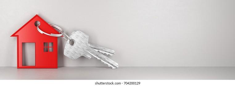 House's keys, new home, 3d render illustration