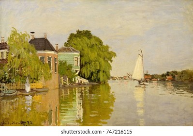 Houses on the Achterzaan, by Claude Monet, 1871, French impressionist painting, oil on canvas. In the summer of 1871, Monet painted Dutch landscapes, enjoying amusing things everywhere: hundreds of wi