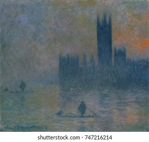The Houses of Parliament , by Claude Monet, 1903_4, French impressionist oil painting. Between 1899 and 1901, Monet painted views of the Thames River in London, including this one from Saint Thomass H