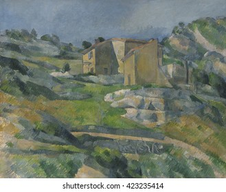 Houses in Provence: The Riaux Valley near L'Estaque, by Paul Cezanne, 1883, French Post-Impressionist painting, oil on canvas. Cezanne defines the scene with the close parallel brushstrokes, which im