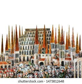Houses with spires and people in the square,isolated image,object,watercolor,illustration