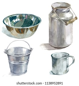housewares metal watercolor isolated on white background set for kitchen, menu, paper