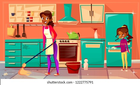 Housewife cleaning kitchen illustration of Afro American mother mopping floor and daughter helps clean refrigerator. Flat cartoon black family cleaning home furniture together