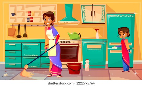 Housewife cleaning kitchen illustration of Indian mother in sari mopping floor and daughter helps clean refrigerator. Flat cartoon of family from India together cleaning kitchen furniture, cupboard