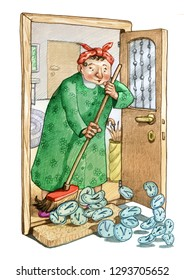 housewife cleans house sweeping out some clocks metaphor of the lost time that doesn't return pencil draw humor illustration