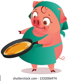 Housewife pig female bakes pancakes in pan. Isolated on white cartoon illustration