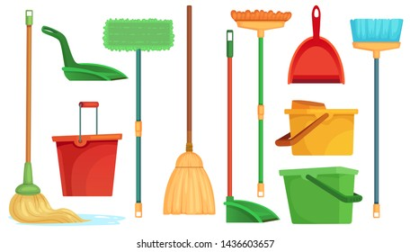 Housework broom and mop. Sweeper brooms, home cleaning mops and cleanup broom with dustpan. Broom, kitchen and bathroom hygiene or housework equipment. Isolated cartoon  illustration symbols set