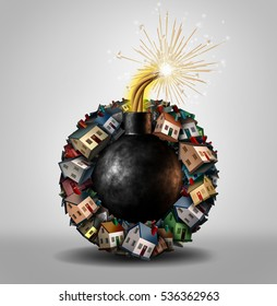 Housing bubble concept and inflated home or real estate market as a group of family residences shaped as an explosive bomb with a lit fuse as a 3D illustration.