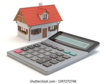 Housing calculator, home financial conept, 3D illustration