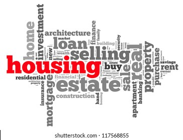 Housing info-text graphics and arrangement concept on white background (word cloud)