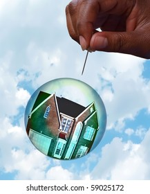 Housing market bubble burst concept photo with composition of home floating in a bubble towards a hand holding a pin depicting the fragility of the housing market. The house photo has been altered!