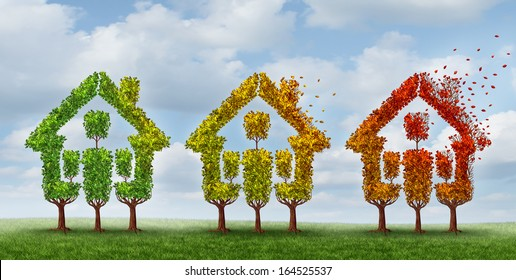 Housing market change and real estate industry conditions as a concept with a group of trees with leaves losing foliage as a metaphor for home prices and mortgage rates uncertainty.