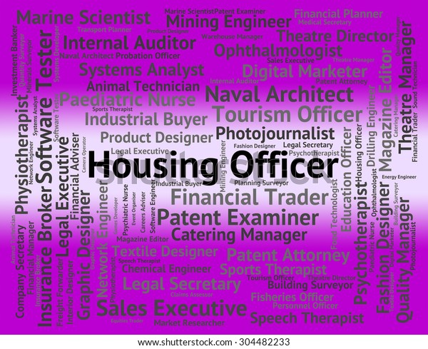 Housing Officer Representing Apartment Words Employee Stock