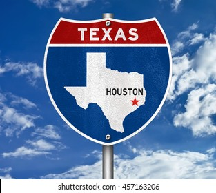 Houston Texas road sign - 3D illustration