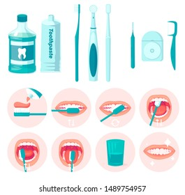 How to brush your teeth step-by-step instruction. Toothbrush and toothpaste for oral hygiene. Clean white tooth. Healthy lifestyle and dental care. Isolated flat illustration isolated on white