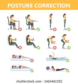 How to correct posture infographic. Incorrect pose and back pain. Wron and right body position. Isolated flat  illustration