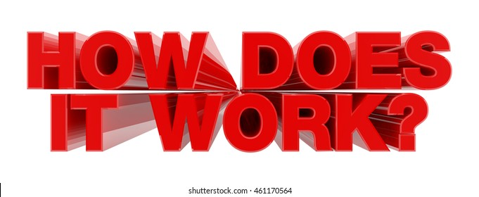HOW DOES IT WORK ? red word on white background illustration 3D rendering