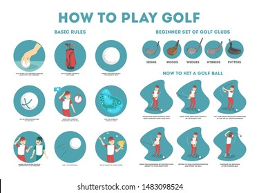 How to play golf guide for beginners. Basic rules and set of golf club. Man player on the field with ball. Golf lesson. Flat illustration
