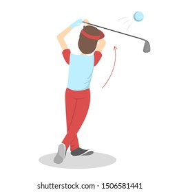 How to play golf guide for beginners. Basic rules. Man player on the field with ball. Golf lesson. Flat  illustration
