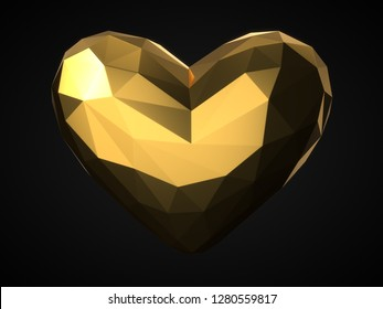 how poly style golden heart. suitable for love, emotions and valentine's day themes. 3d illustration