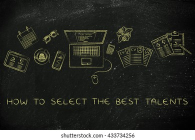 how to select the best talents: recruiter desk with mixed resumes and shortlists for the job offer on laptop screen