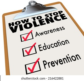 How to Stop Violence words on a check list including Awareness, Education and Prevention