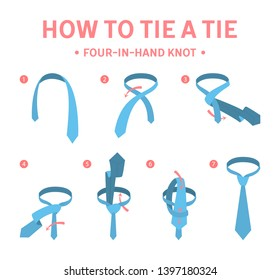 How to tie a four-in-hand knot tie instruction. Guide for making necktie. Isolated flat  illustration