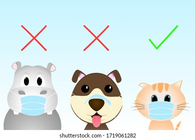 How to ware mask correct. Concept of waring face mask to reduce the spread of germs, viruses and bacterias. Illustration in a flat style. Cartoon animal are waring a mask incorrect and correct.