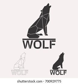 Howling wolf geometric lines silhouette isolated on white background vintage design element illustration set