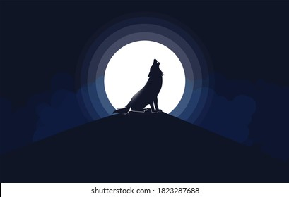 howling wolf silhouette in front of the moon, illustration.