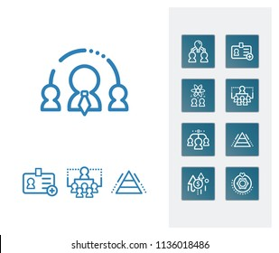 Hr icon set and team abilities with participant, training management and lecture. Chemistry related hr icon  for web UI logo design.