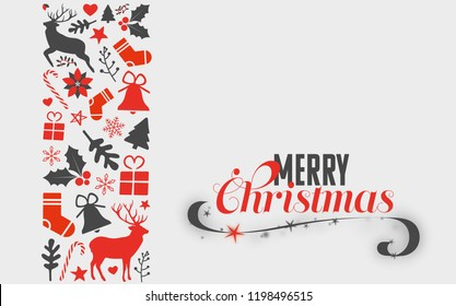 hristmas card with christmas objects at the left sight