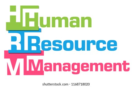 HRM - Human Resource Management text written over colorful background.