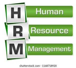 HRM - Human Resource Management text written over green grey background.