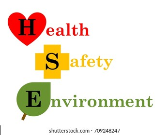 HSE (Health, Safety and Environment) illustration concept with Health was pictured with heart, Safety with cross and Environment with leaf in white background.
