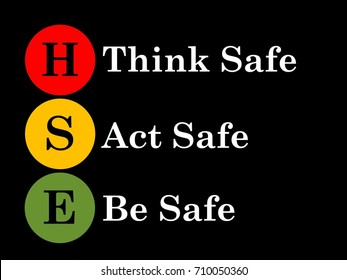 HSE (Health, Safety and Environment) safety slogan on think safe, act safe and be safe.