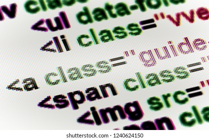 HTML code in the screen. 3D Illustration.