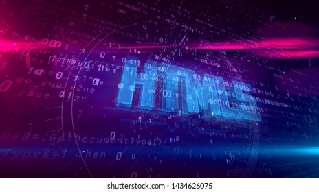 HTML5 glowing hologram over working cpu on digital background. Modern and futuristic concept of coding, software and programming 3d illustration.