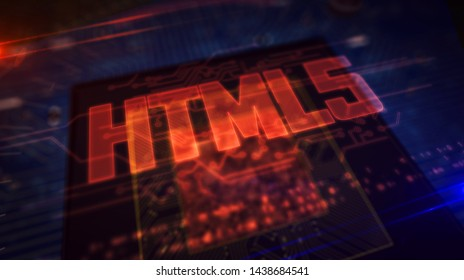 HTML5 glowing hologram over working cpu in background. Modern and futuristic concept of coding, software and programming 3d illustration.