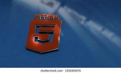 HTML5 symbol close up - metal shape on metallic background. Render 3D.
