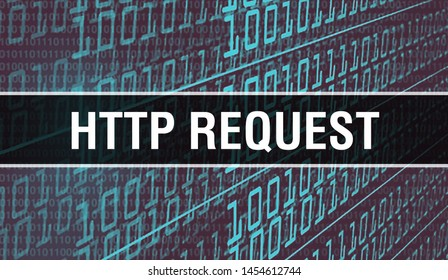 HTTP REQUEST concept illustration using code for developing programs and app. HTTP REQUEST website code with colourful tags in browser view on dark background. HTTP REQUEST on binary computer code,