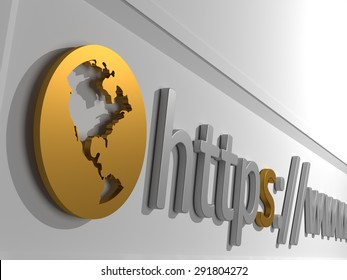 Https - An address bar on the top of a browser containing the start of a domain. 3D Illustration