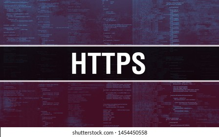 https with Binary code digital technology background. Abstract background with program code and https. Programming and coding technology background. https with Program listing